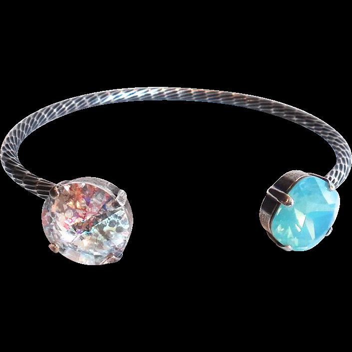 Designs by Ali Antique Silver Plated Brass with Pacific Opal Swarovski and White Patina Swarovski Bracelet