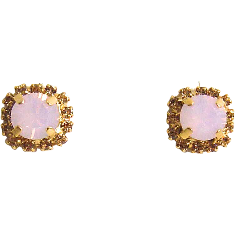 Designs by Ali Matte Gold Plated Stud Earrings with Light Colorado Rhinestone and Rose Opal Swarovski Earrings