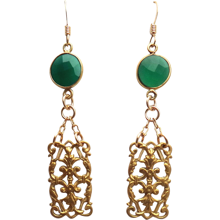 Designs by Ali Brass Component with Green Onyx Earrings
