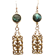 Designs by Ali Brass Component with Labradorite Earrings