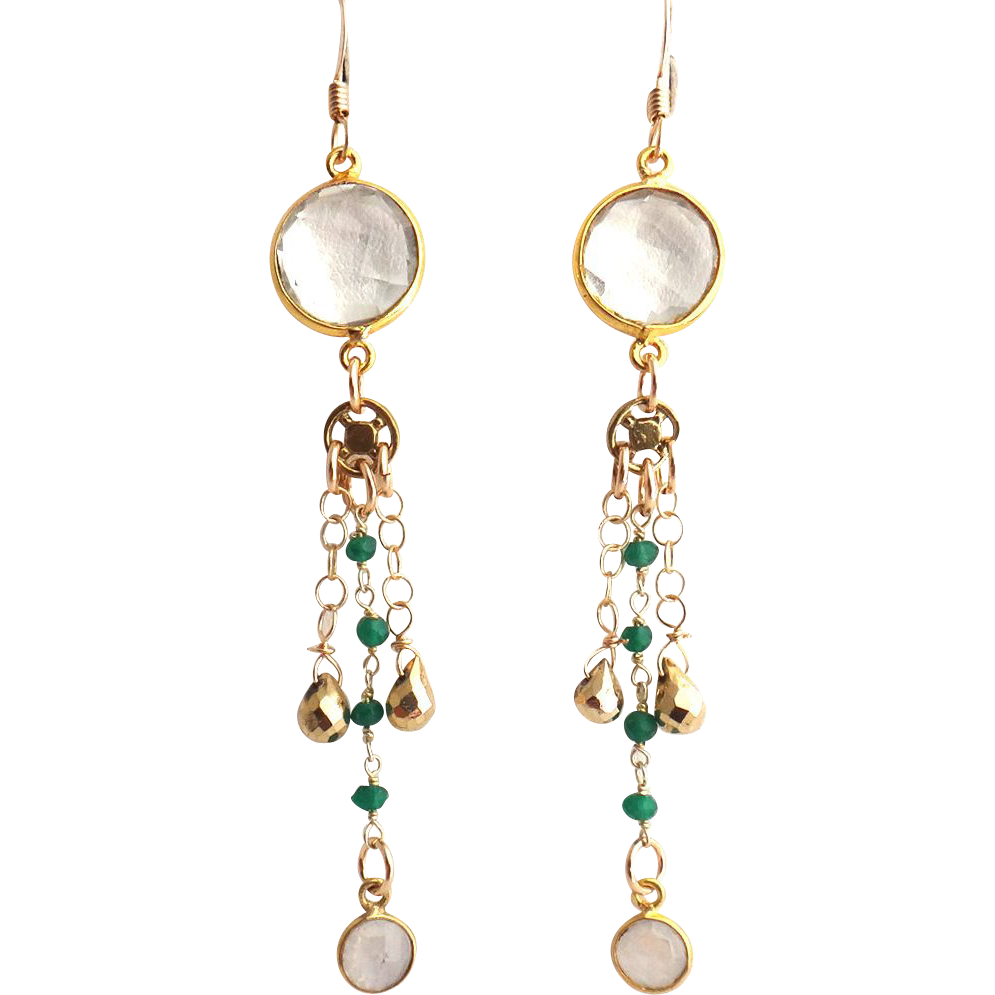 Designs by Ali Gold Plated Rock Quartz Connector with Green Onyx Chain and Moonstone Earrings