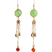 Designs by Ali Gold Plated Sea Green Chalcedony Connector with Labradorite Chain and Carnelian Earrings