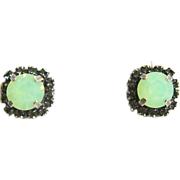 Designs by Ali Antique Silver Plated Stud with Black Diamond Rhinestone and Chrysolite Opal Earrings