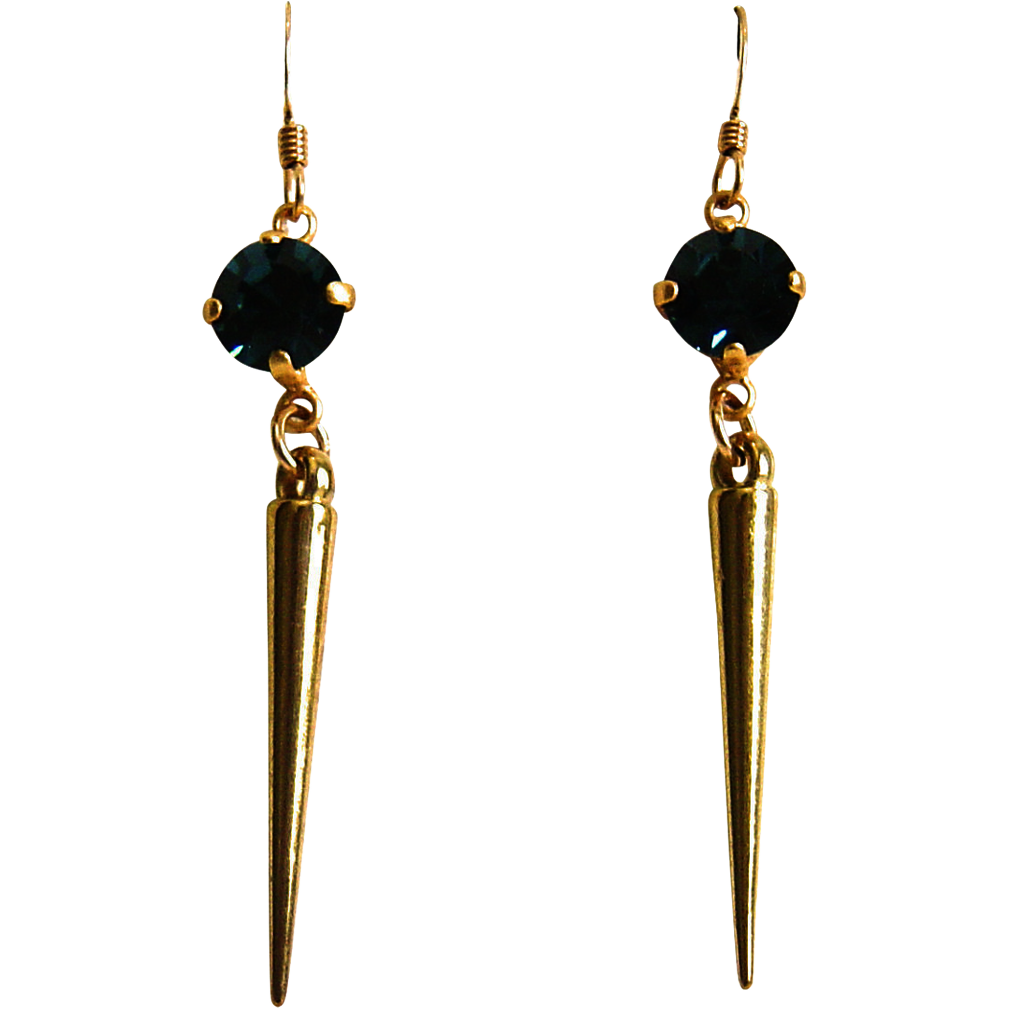 Designs by Ali Matte Gold Plated Setting and Spike with Montana Swarovski Earrings