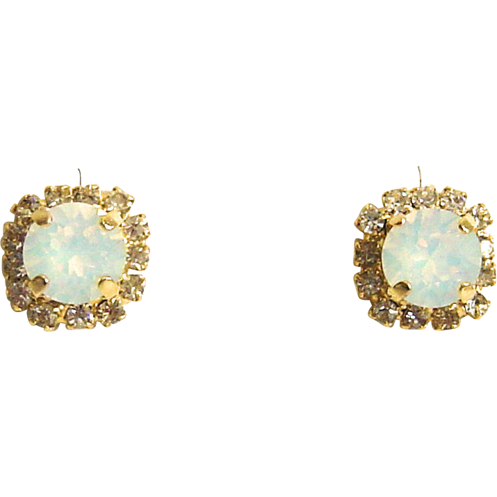 Designs by Ali Matte Gold Plated Stud with Crystal Rhinestone and White Opal Swarovski Earrings