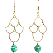 Designs by Ali Matte Gold Plated Chandelier with Sleeping Beauty Turquoise Earrings