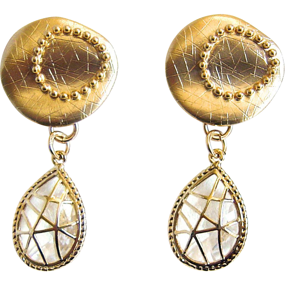 Designs by Ali Matte Gold Plated with Crystal Glass & Polished Gold Pendant Earrings