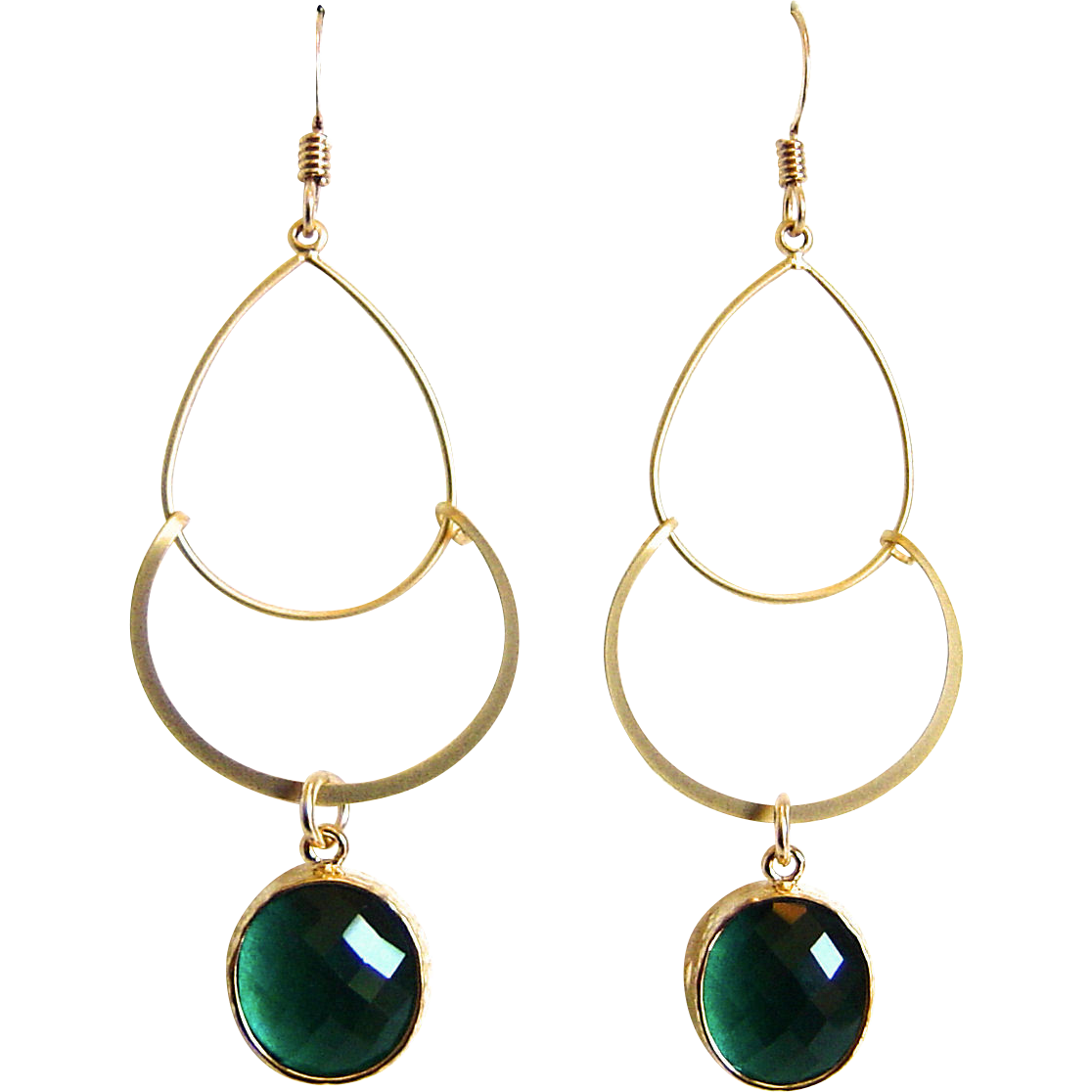 Designs by Ali Matte Gold Plated Pendant with Emerald Glass Frame Earrings