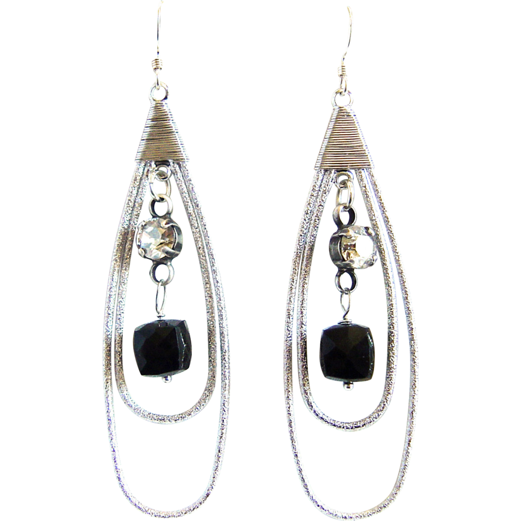 Designs by Ali Matte Rhodium Plated Teardrop with Dark Black Sardonyx Agate Earrings