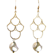 Designs by Ali Matte Gold Brass Chandelier with White Agate Round Earrings