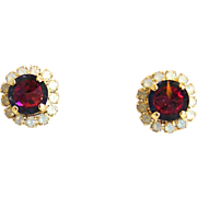 Designs by Ali Matte Gold Plated Brass Stud with White Opal and Light Rose Volcano Swarovski Earrings