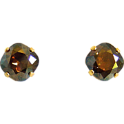 Designs by Ali Matte Gold Plated Brass Stud with Bronze Shade Swarovski Earrings