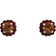 Designs by Ali Antique Silver Plated Stud with Light Siam and Light Colorado Swarovski Earrings