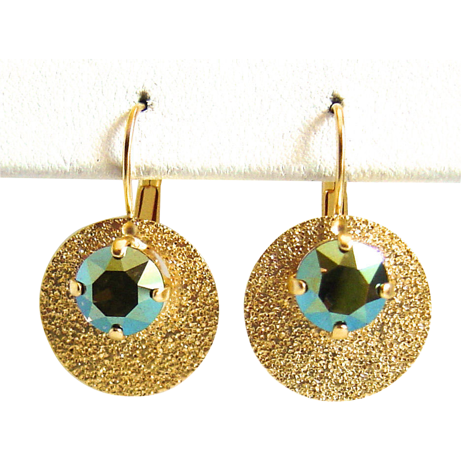 Designs by Ali Matte Gold Plated Brass Drop with Iridescent Green Swarovski Earrings