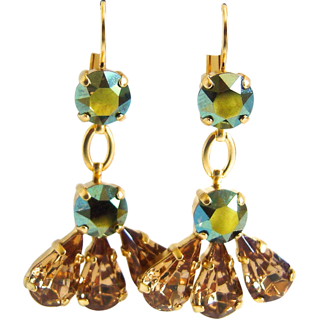 Designs by Ali Matte Gold Plated Brass with Iridescent Green and Light Colorado Swarovski Earrings