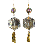 Designs by Ali Smoky Grey Crystal with Starlight Swarovski and Brass Chain Earrings