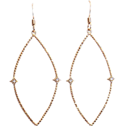 Designs by Ali Gold Plated Brass Marquise Pendant Earrings