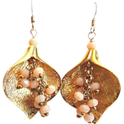 Designs by Ali Gold Plated Brass Pendant with Toasted Almond Crystal Earrings
