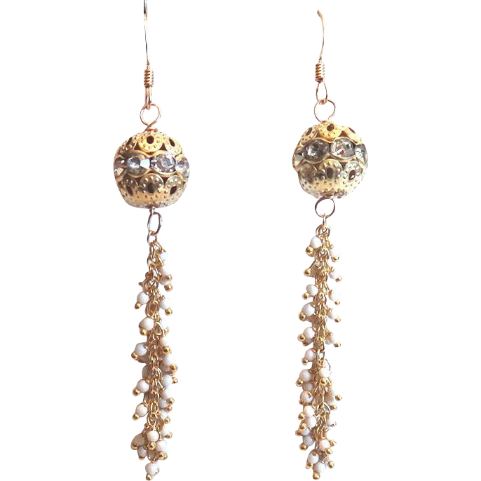 Designs by Ali Matte Gold Plated Rhinestone Ball and Magnesite Earrings
