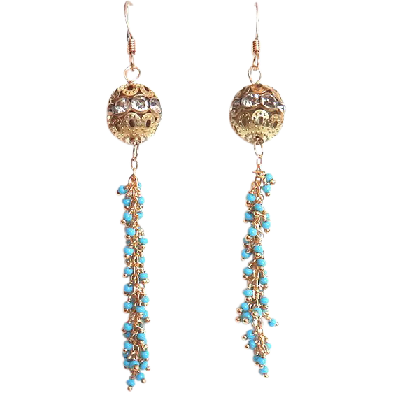 Designs by Ali Matte Gold with Clear Crystal and Turquoise Chain Earrings