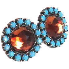 Designs by Ali Antique Silver Plated Brass with Turquoise Swarovski & Smoked Topaz Swarovski Earrings