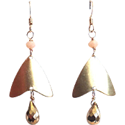 Designs by Ali Gold Brass Charm with Toasted Almond Quartz and Gold Pyrite Earrings