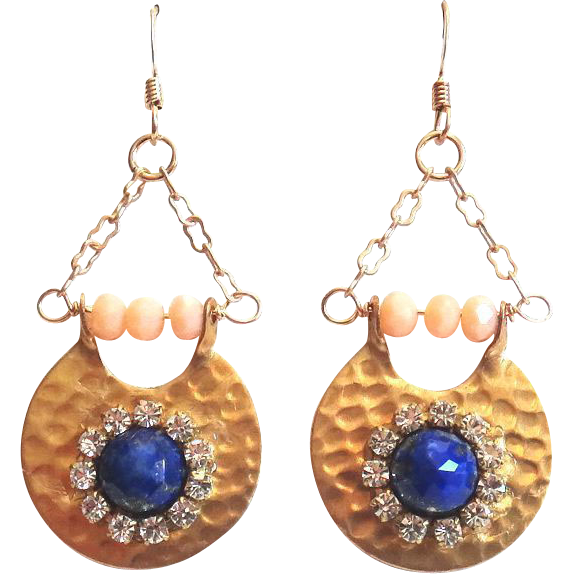 Designs by Ali Gold Brass Pendant with Lapis and Crystal Cup Chain Earrings