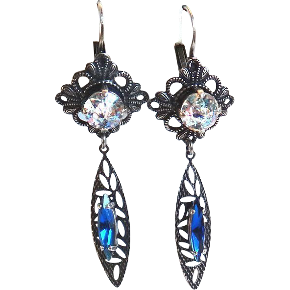 Designs by Ali Antique Silver Plated Brass with Capri Blue and White Patina Swarovski