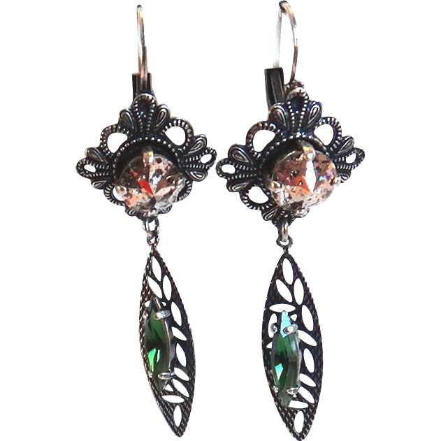 Designs by Ali Antique Silver Brass with Green Tourmaline and Rose Patina Swarovski Earrings
