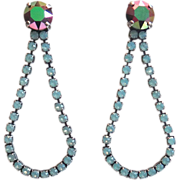 Designs by Ali Antique Silver Plated Brass with Pacific Opal and White Opal Electra Swarovski Earrings