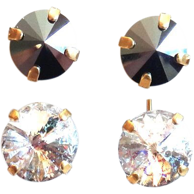 Designs by Ali Matte Gold Plated with Hematite Swarovski and White Patina Swarovski Earrings