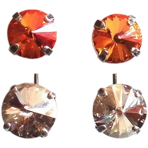 Designs by Ali Antique Silver Plated with Summer Blush and Silver Shade Swarovski Earrings
