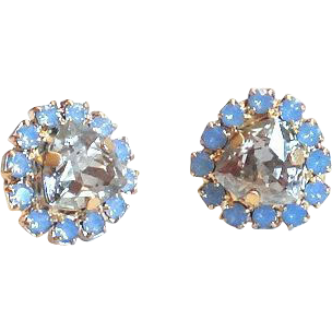 Designs by Ali Matte Gold Plated Brass Stud with Air Blue Opal and Silver Shade Swarovski Earrings