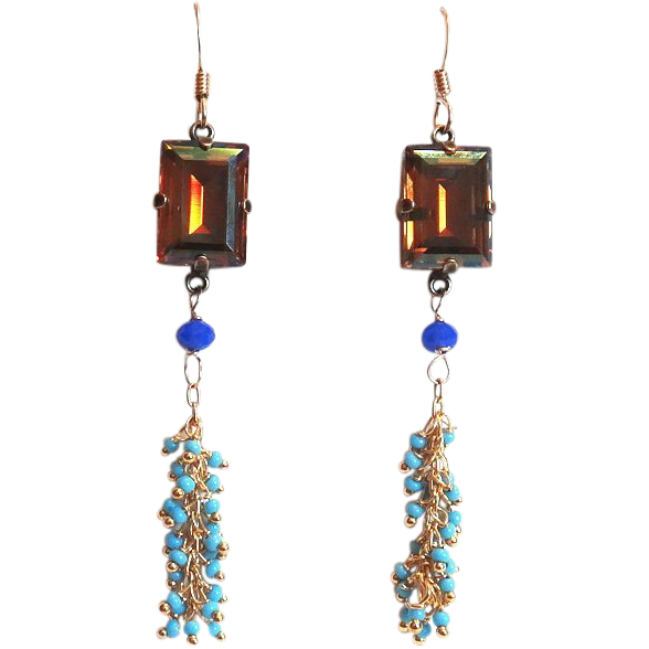 Designs by Ali Copper Swarovski with Scuba Blue Glass and Turquoise Chain Earrings