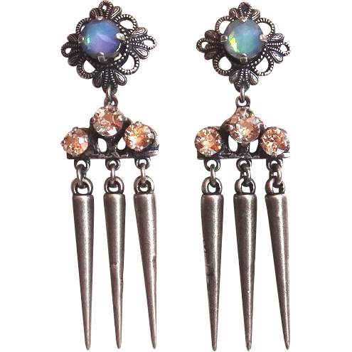 Designs by Ali Antique Silver Plated Brass with White Opal Electra and Silver Shade Swarovski Earrings