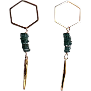 Designs by Ali Matte Gold Plated with Green Apatite and Vermeil Earrings