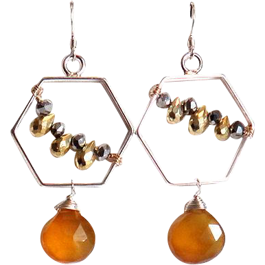 Designs by Ali Silver Plated Frame with Pyrite and Honey Chalcedony Earrings