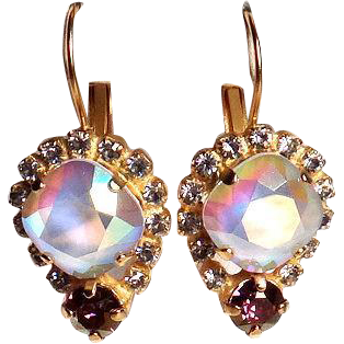 Designs by Ali Matte Gold Plated Brass with Crystal Rhinestones, Powder Grey AB and Lilac Shadow Swarovski Earrings