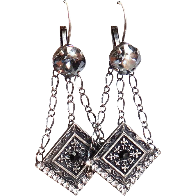 Designs by Ali Antiqued Silver Plated Base and Crystal with Stormy and Jet Swarovski Earrings
