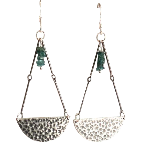 Designs by Ali Antiqued Silver Finish Chain and Blank Stampling Pendant with Green Apatite Earring