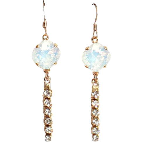 Designs by Ali Gold Plated Bar with White Opal Swarovski and Czech Crystal Cup Chain Earrings