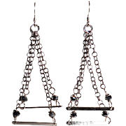 Designs by Ali Double Silver Plated with Sterling Silver Bars & Silver Glass Earring