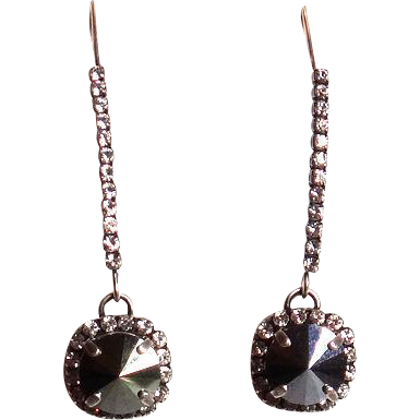 Designs by Ali Antiqued Silver Plated Marquise Wire with Crystal Rhinestone and Pendant with Hematite Swarovski