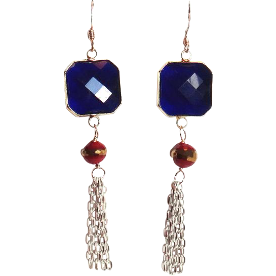 Designs by Ali Gold Plated Copper with Dark Sapphire Crystal and Dark Red with Gold Stripe Crystal Earrings