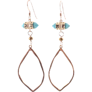 Designs by Ali Turquoise and Gold Plated Pendant Earrings