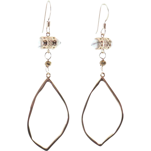 Designs by Ali Howlite White and Gold Plated Pendant Earrings
