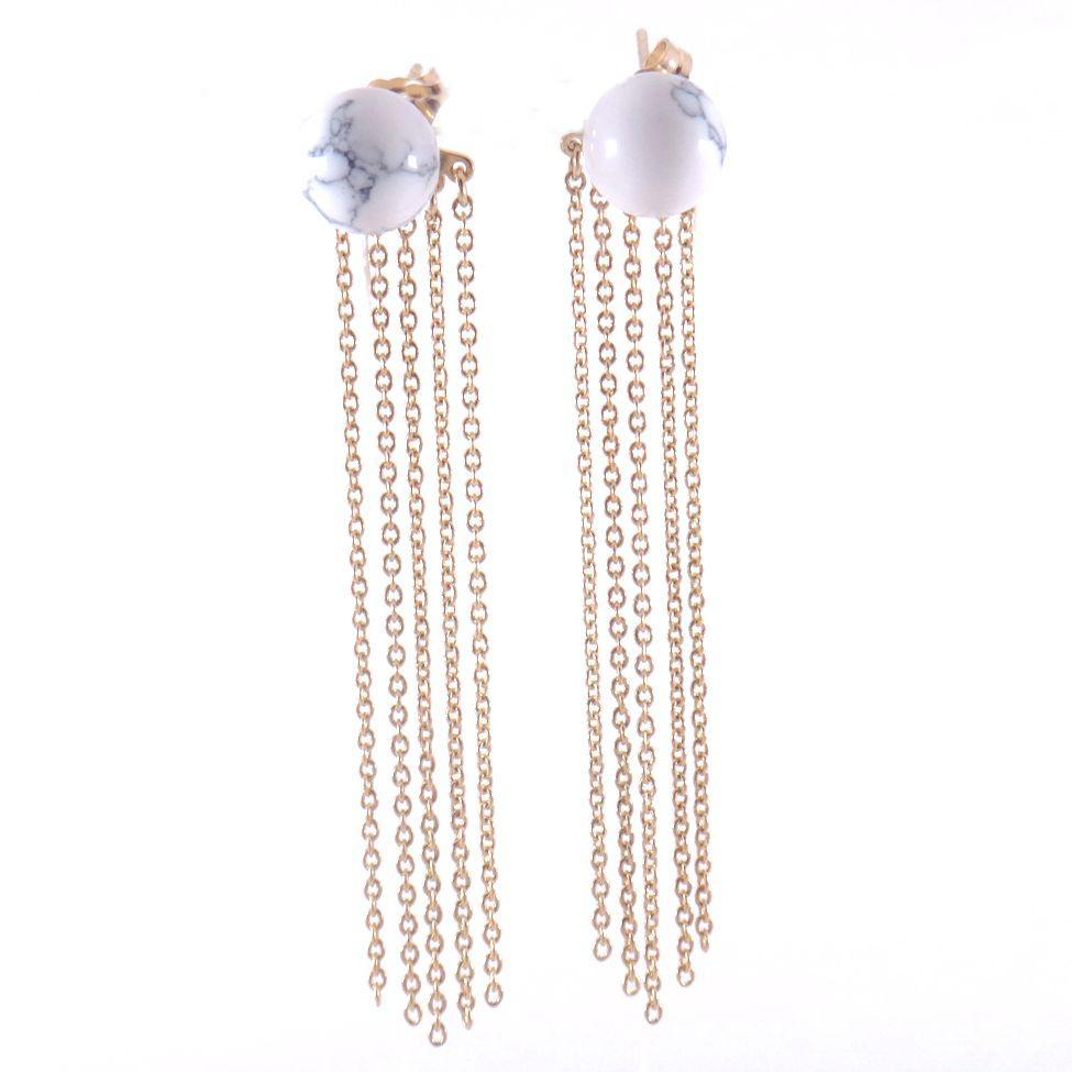 Designs by Ali Howlite White Marble and Gold Plated Chain ...