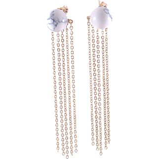 Designs by Ali Howlite White Marble and Gold Plated Chain Earrings