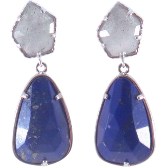 Designs by Ali Labradorite and Rhodium Plated with Lapis-Lasuli Earrings