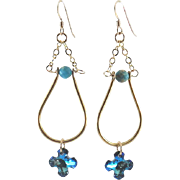 Designs by Ali Gold Plated Pendant with Aqua Blue Impression Jasper and Bermuda Blue Swarovski Earrings
